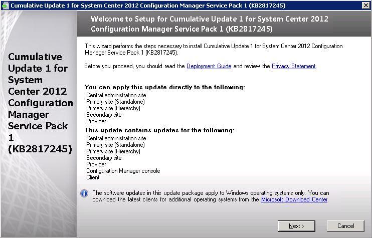 SCCM 2012 SP1 Cumulative Update 1 installation – SCCMentor