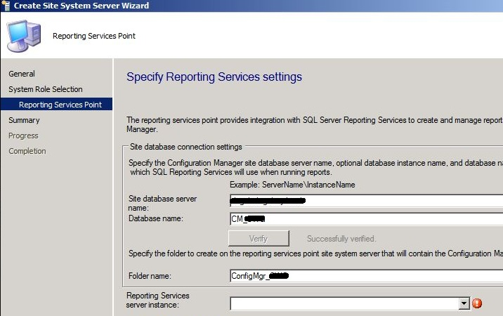 Reporting Services Point – Server Instance Blank – SCCMentor