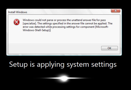 Windows could not parse or process the unattend answer file