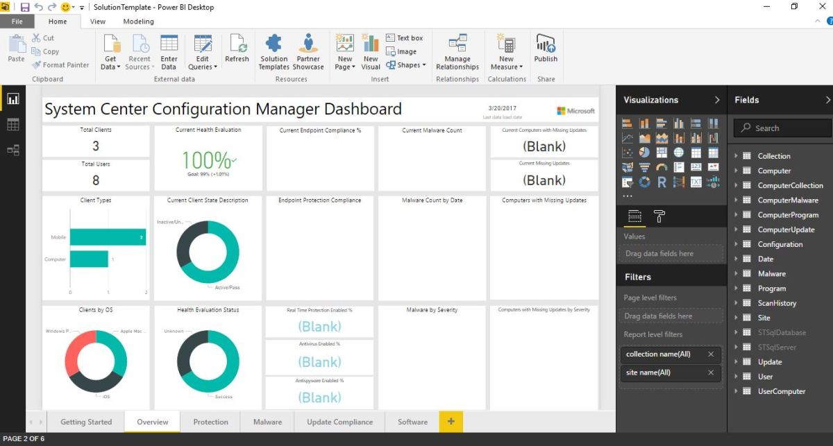 getting started with the power bi sccm template