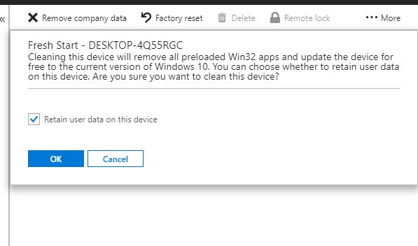 Using Fresh Start to reset Windows 10 devices via Intune