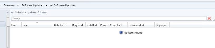 No software updates available after ConfigMgr site upgrade